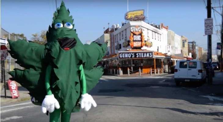 Marijuana Leaf Mascot Appears in Philadelphia to Celebrate Two Years of Decriminalization