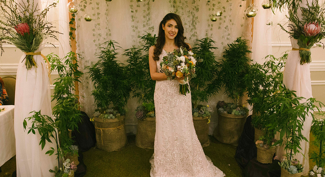 Photos of Ganja Gowns and 420 Floral Arrangements at the Los Angeles Cannabis Wedding Expo