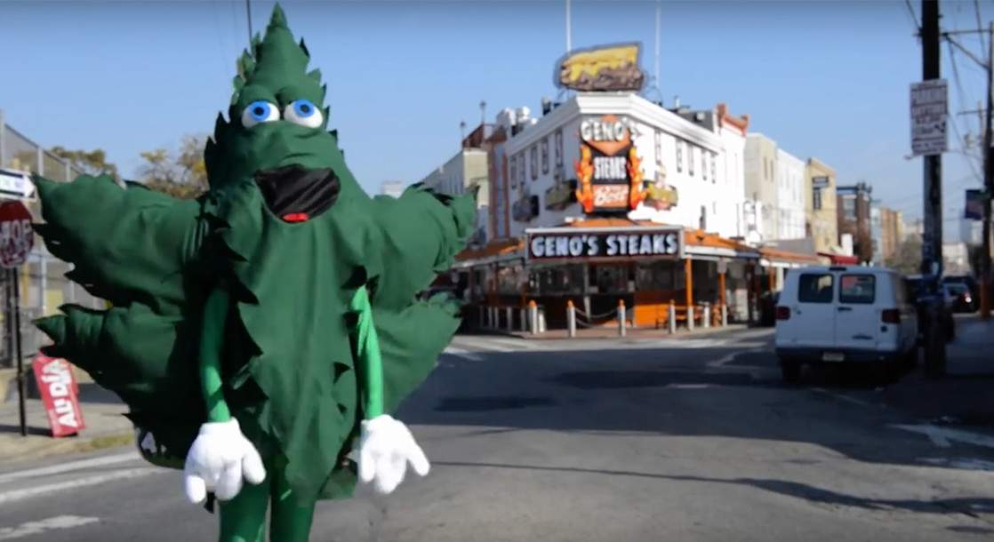 Marijuana Leaf Mascot Appears in Philadelphia to Celebrate Two Years of Decriminalization