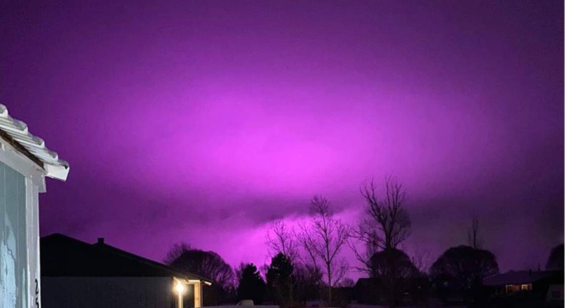 Pot Farm Grow Lights Turn Arizona Sky a Glowing Purple After Snowstorm