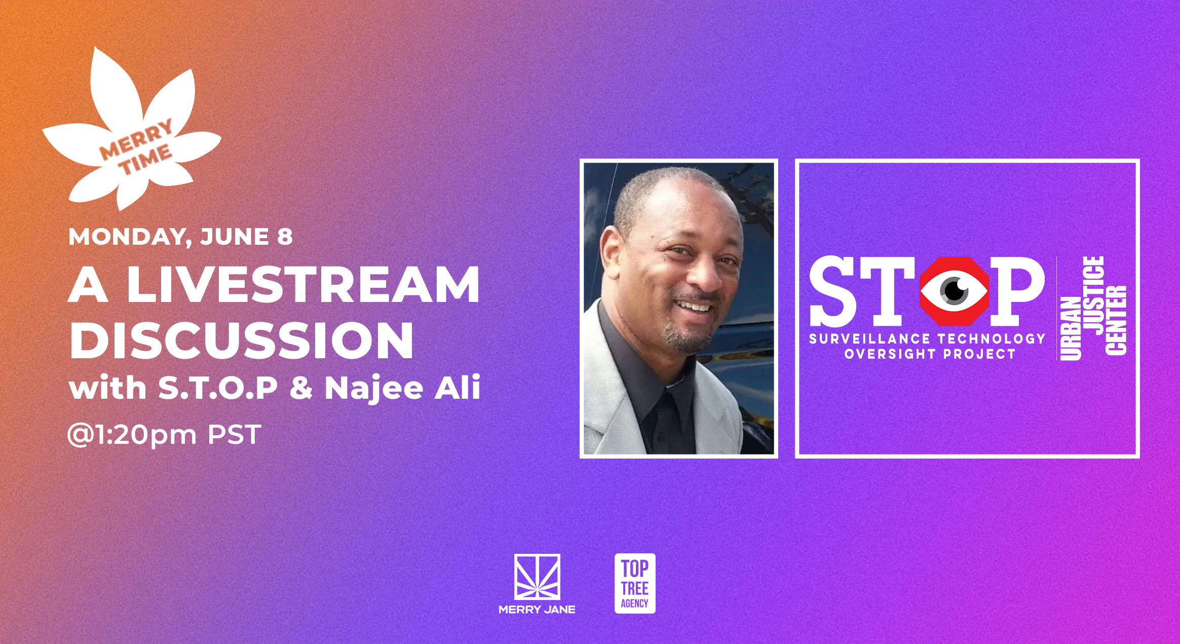 """MERRY TIME"" Live Stream to Feature Watchdog Group S.T.O.P. and Activist Najee Ali"